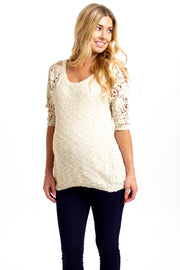 Cream Crochet Sleeve Maternity Sweater
