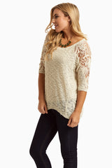 Cream Crochet Sleeve Sweater