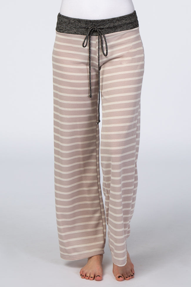 Taupe Striped Wide Leg Lounge Pant