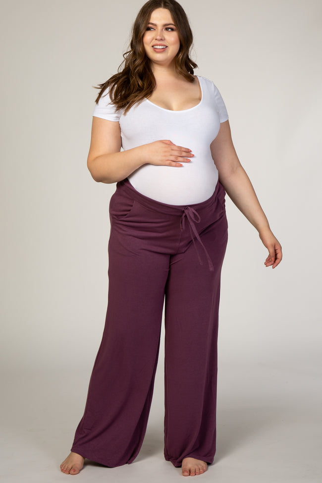 Purple Drawstring Maternity Plus Pants