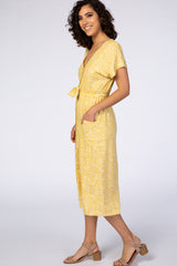 Waverleigh Yellow Printed Button Tie Front Midi Dress