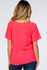 Fuchsia Wide Neck Drop Shoulder Short Sleeve Graphic Maternity Tee