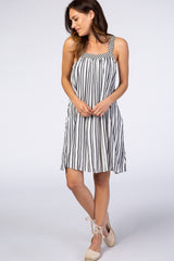 White Contrast Stripe Embroidered Strap Maternity Dress