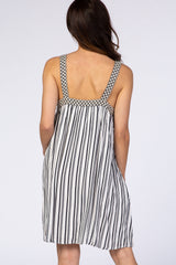 White Contrast Stripe Embroidered Strap Dress