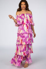 Waverleigh Multi-Color Tie Dye Off Shoulder Ruffle Maternity Maxi Dress