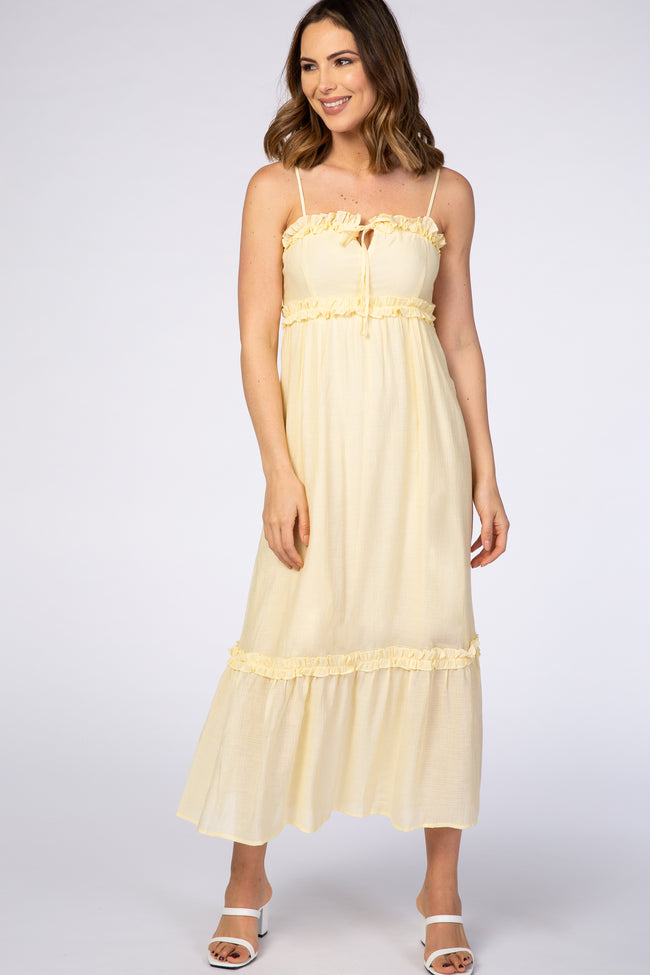 Yellow Ruffle Trim Maxi Dress