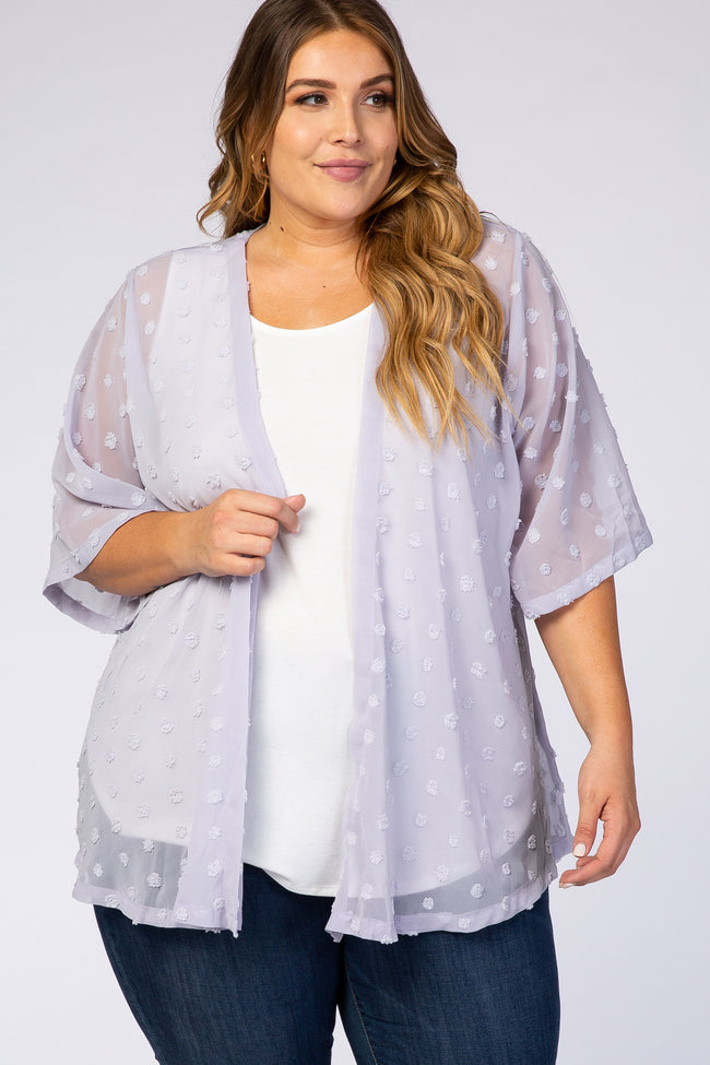 Lavender Pom Pom Pleated Plus Maternity Cover Up