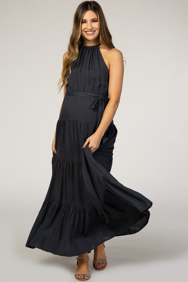 Charcoal High Neck Sleeveless Open Back Maternity Maxi Dress