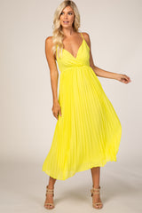 Yellow Pleated Maternity Midi Dress