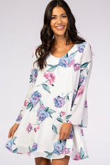 Ivory Floral Long Sleeve Chiffon Maternity Dress