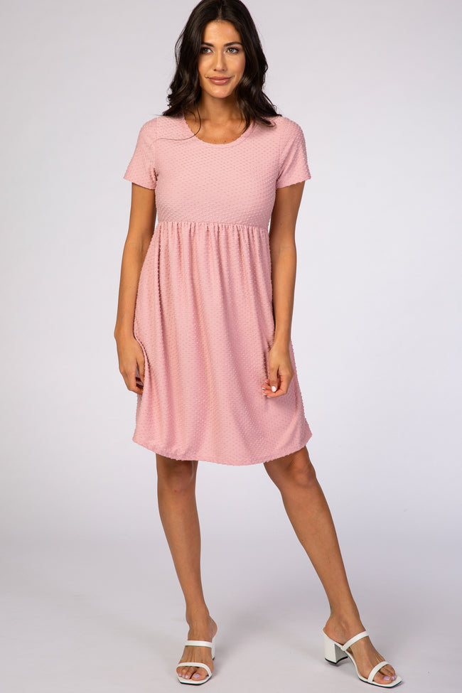 Pink Swiss Dot Short Sleeve Maternity Dress