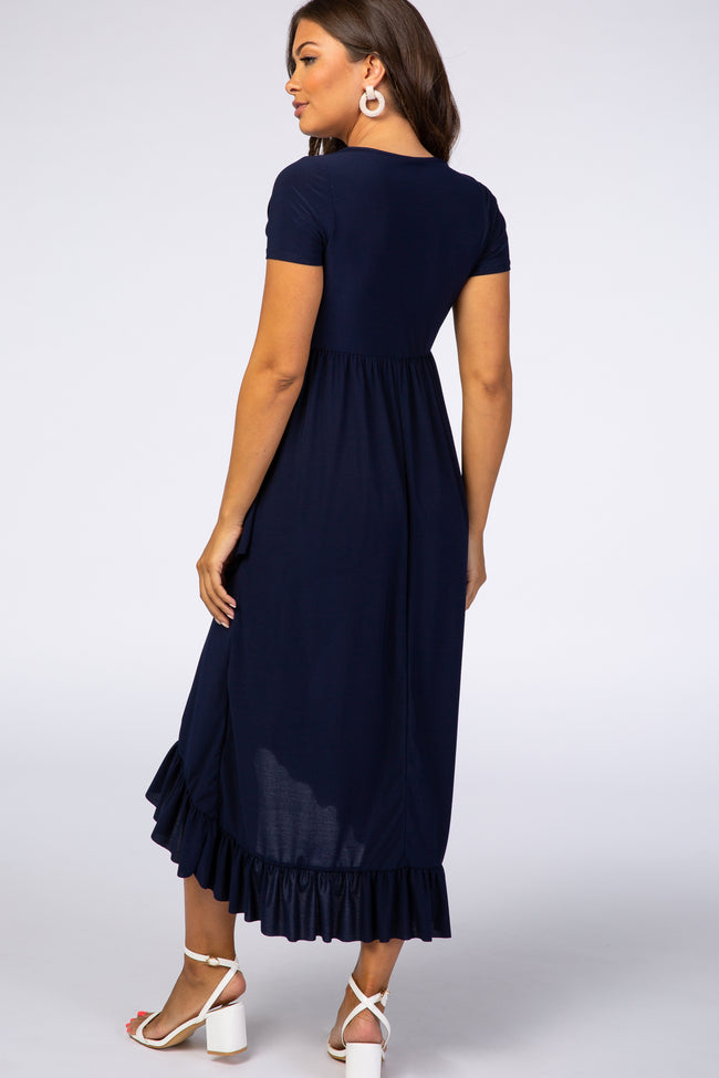 Navy Ruffle Trim Hi-Low Maternity Maxi Dress