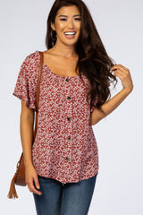 Rust Floral Button Down Top