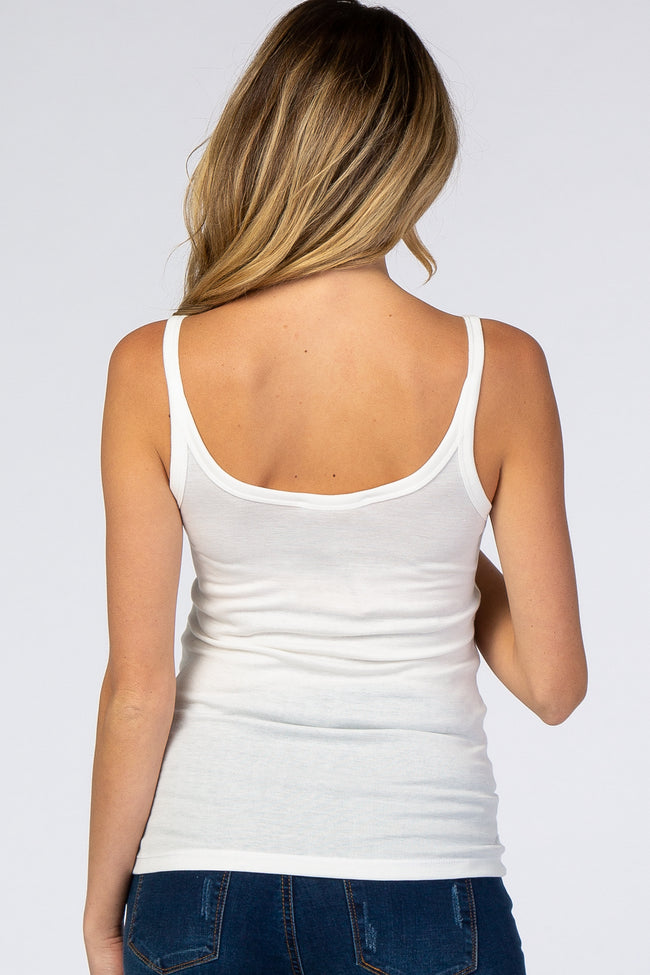 White Fitted Scoop Neck Maternity Tank Top