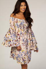 Pink Tropical Print Off Shoulder Layered Sleeve Dress