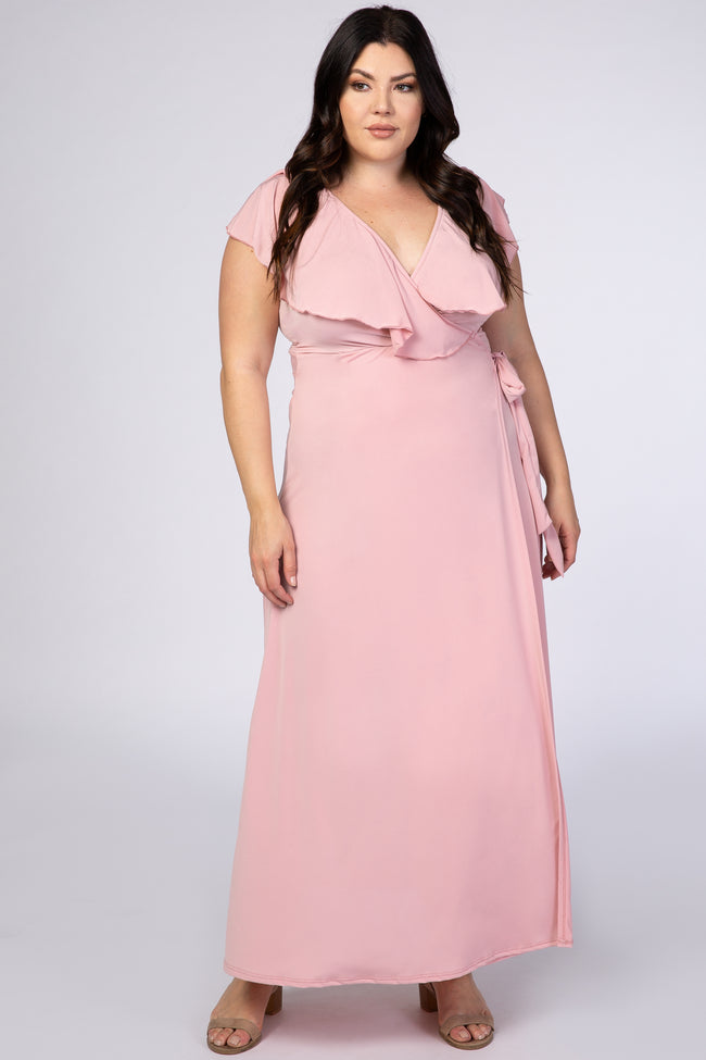 Pink Ruffle Accent Wrap Plus Maternity Maxi Dress