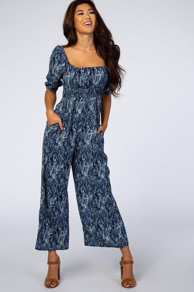 Blue Printed Puff Sleeve Wide Leg Maternity Jumpsuit