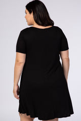 Black Short Sleeve Button Detail Plus Swing Dress