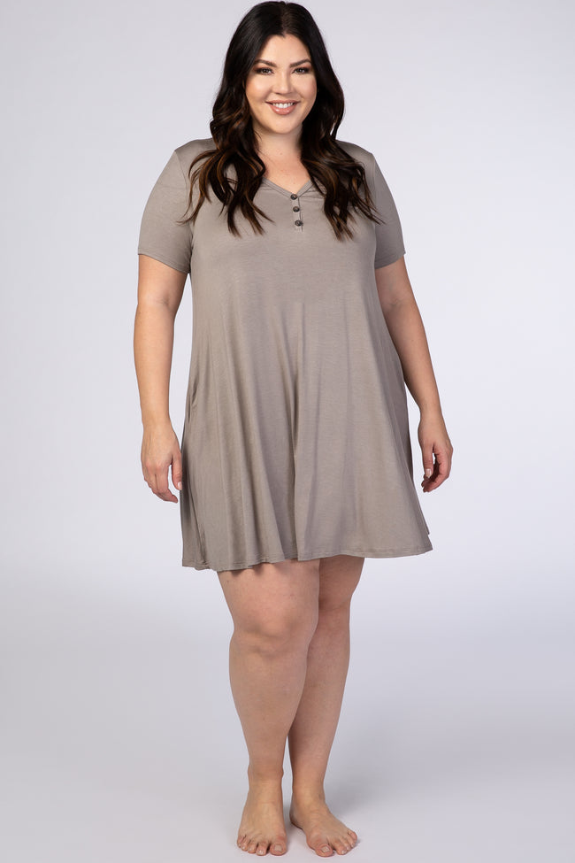 Taupe Short Sleeve Button Detail Plus Swing Dress