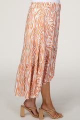 Orange Zebra Print Hi-Low Maternity Midi Skirt