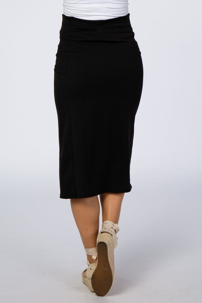 Black Ribbed Side Slit Button Detail Maternity Midi Skirt