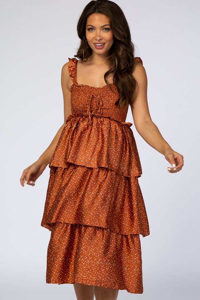 Waverleigh Rust Polka Dot Smocked Tiered Maternity Midi Dress