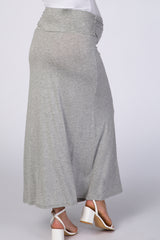 Grey Side Slit Maternity Maxi Skirt