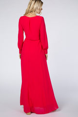 Pink Chiffon Long Sleeve Maxi Dress