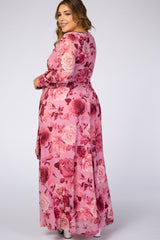 Mauve Rose Floral Chiffon Plus Maxi Dress