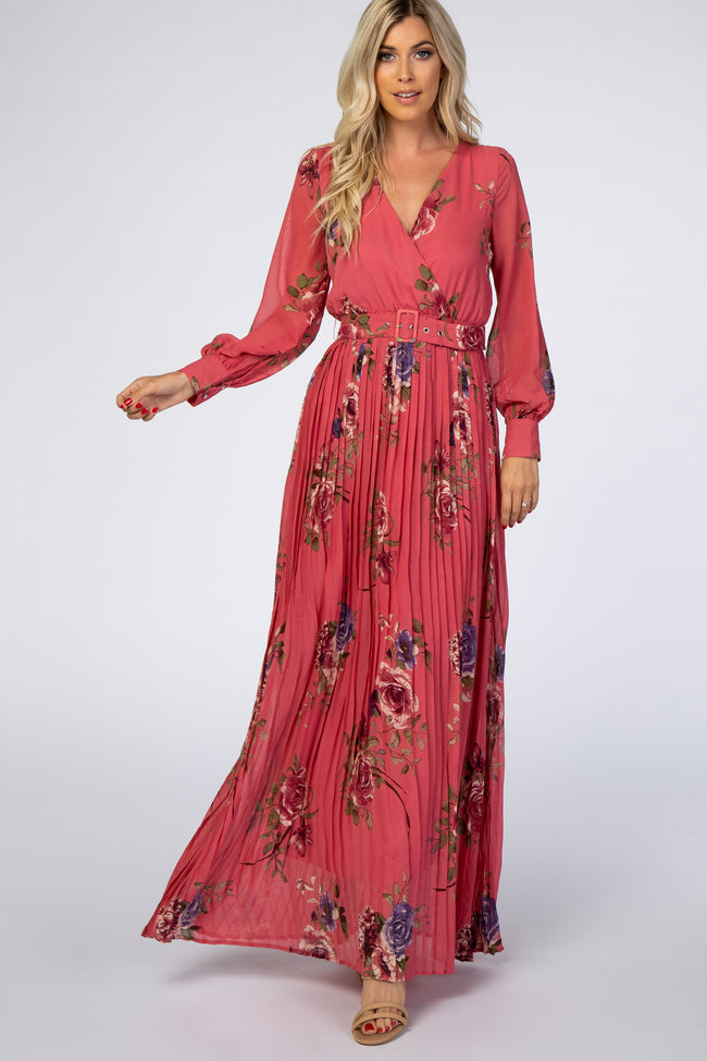 Mauve Floral Pleated Maxi Dress