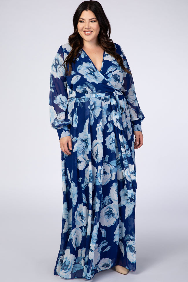 Royal Blue Floral Chiffon Maternity Plus Maxi Dress
