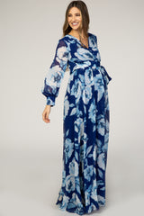 Blue Rose Floral Maternity Long Sleeve Maxi Dress