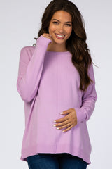 Lavender Knit Dolman Sleeve Maternity Sweater