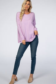 Lavender Knit Dolman Sleeve Sweater
