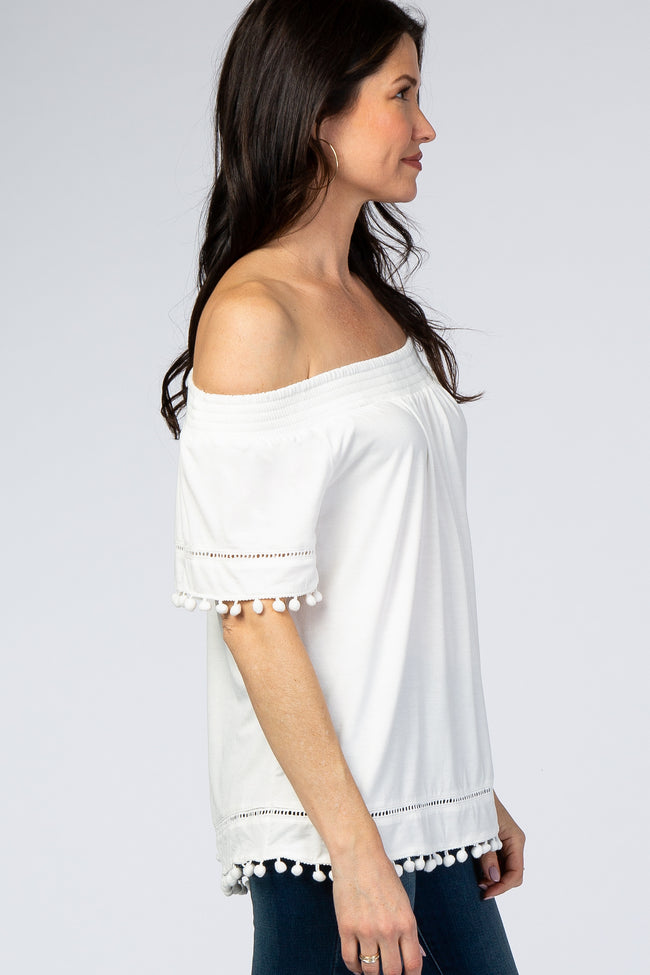 Ivory Off Shoulder Pom Pom Hem Top
