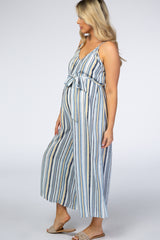 Blue Vertically Striped Thin Strap Tie Waist Maternity Jumpsuit