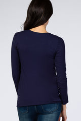 Navy Blue Long Sleeve Ruched Fitted Top