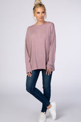 Mauve Striped Long Sleeve Crew Neck Top