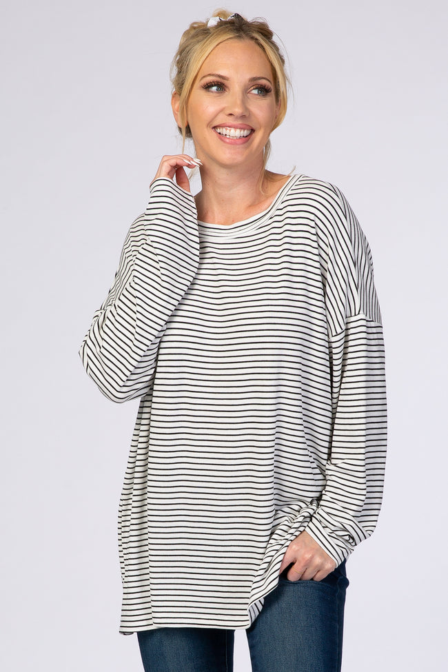White Striped Long Sleeve Crew Neck Top