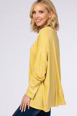 Yellow Striped Long Sleeve Crew Neck Top