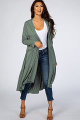 Olive Ruffle Tiered Maternity Cardigan