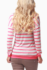 Coral Beige Striped Long Sleeve Maternity Shirt