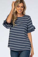 Navy Blue Faded Striped Ruffle Sleeve Maternity Top