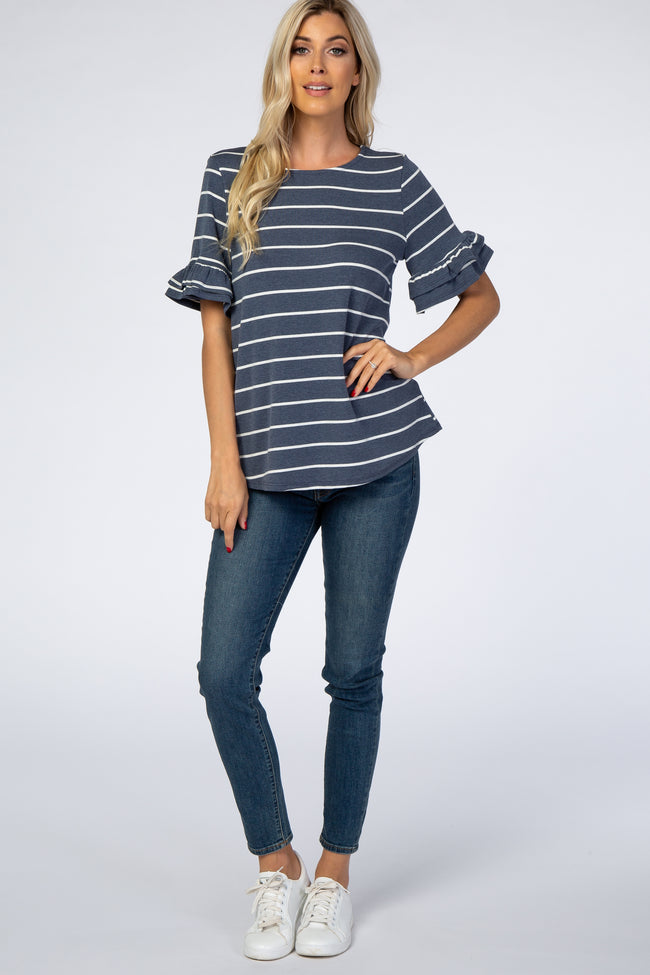 Navy Blue Faded Striped Ruffle Sleeve Top