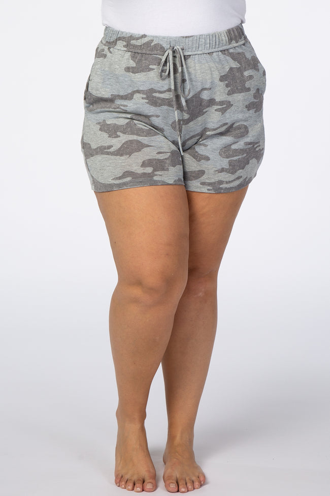 Grey Camo Plus Sleep Shorts