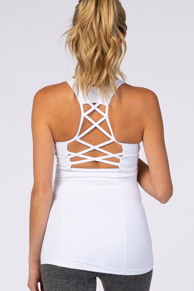 White Criss Cross Back Maternity Active Top