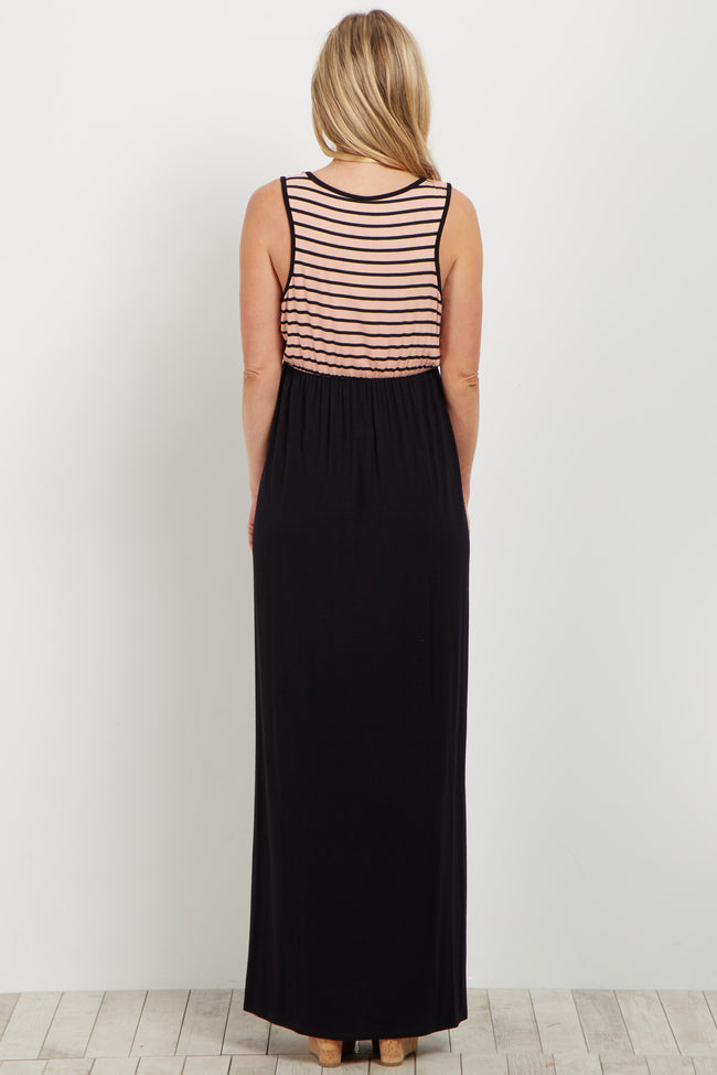 Peach Black Striped Top Maternity Maxi Dress