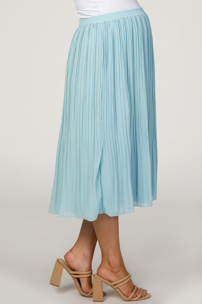 Light Blue Pleated Maternity Midi Skirt