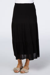 Black Tiered Maternity Midi Skirt