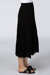Black Tiered Midi Skirt